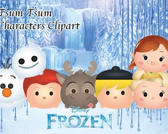FROZEN Tsum Tsum Characters. 7 High Resolution Clipart. Tsum Tsum Party. Frozen Birthday. Baby shower. Party Supplies. 6 Frozen Characters.