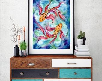 Goldfish/Koi Watercolour Art Print