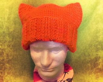 """Dummy's Knitty Kitty """"Safety Orange"""" Hat"""