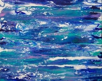 Modern Blue Abstract Acrylic Original Painting on Canvas by Breanna Deis