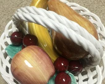 Vintage made in Italy porcelain fruit basket