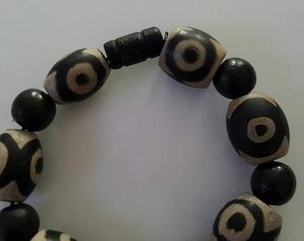 Black White Krobo bead Bracelet