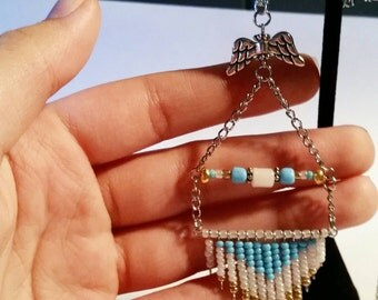Gold & Blue Beaded Necklace with Wings