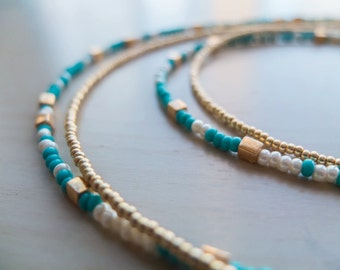 Long layered turquoise, pearlized, gold seed beads with square Miyuki gold beads multistrand necklace~Beaded~Gifts for women~Gifts for Her