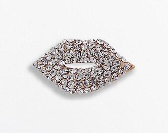 Crystal Lips Pin Brooch