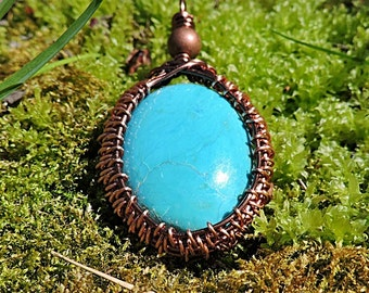 Reconstituted Turquoise and Copper Wire Wrapped Pendant
