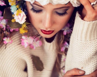 Floral flower Jean Shrimpton style head and neck pieces