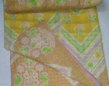 Indian Vintage Kantha Quilt,Gudri,Bedcover,Wall hanging,Bed Cover,Table Cloth,Beach throw,Curtain,Picnic Sheet,Yoga Mat,Home Decor