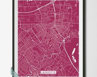 Lafayette Print, Louisiana Poster, Lafayette Poster, Lafayette Map, Louisiana Print, Louisiana Map, Street Map, Dorm Wall Art