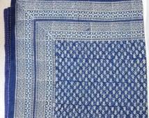 Indian Handmade Hand Block Printed Kantha Quilt Bedspread Cotton Blanket Gudari