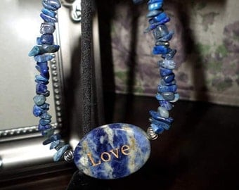 "Blue lapis ""Love"" bracelet"