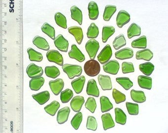 48 top drilled Genuine surf tumbled sea beach glass for jewelry 16-22 mm in length, green