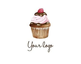 Logo Cupcake, Premade Logo Design, Watercolor Logo Design, Custom Logo Design, Watermark