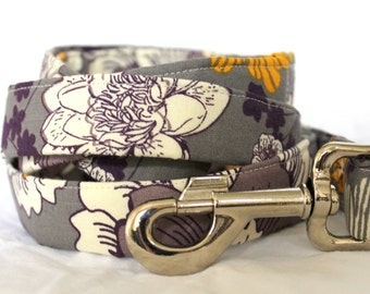 Yellow and Purple Blooms Dog Leash
