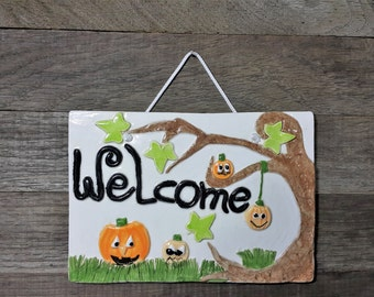 Halloween door decor, Halloween welcome sign, Halloween pumpkins, Halloween door hanging sign, Halloween party decoration, Jack o'lantern