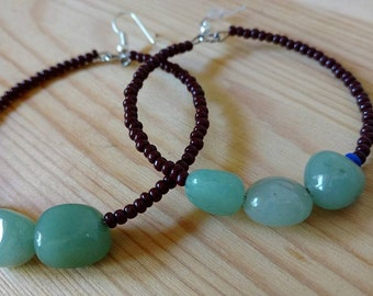 Beaded Hoops with Aventurine Stone