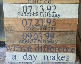 What a Difference a Day Makes wooden sign