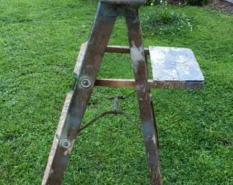 Antique Wood Step Ladder