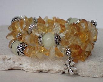 Yellow Glass Beads and Italian Onyx Gemstone Memory Wire Bracelet
