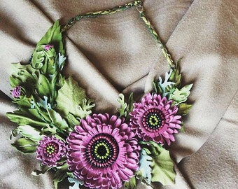 """necklace made of leather and suede """"bouquet gerberas"""""""