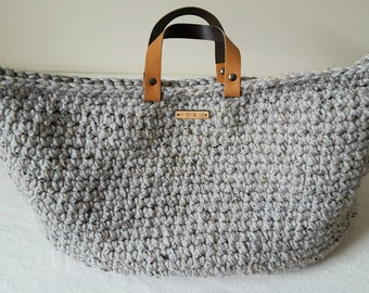 Crochet Weekender Bag >> Chunky Bag, Grey Bag, Carry All Bag, Overnight Bag, Large Bag