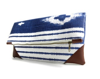 Blue and White Clutch // Brown Faux Leather // Foldover Clutch // Folk clutch // Aztec clutch // Gift for her // Handmade