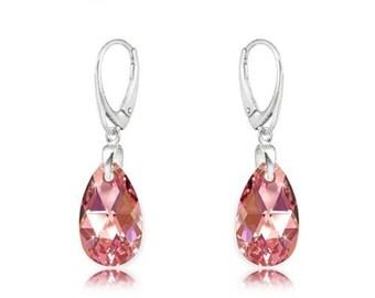 Earrings Swarovski sterling silver swarovski crystal  wedding earrings Crystal earrings rosa