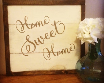 Home Sweet Home framed wood sign. Rustic style home decor. House warming gift.