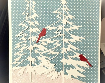 Birds in trees christmas card