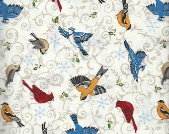 Birds,Share the Joy, Moda Fabric on cream