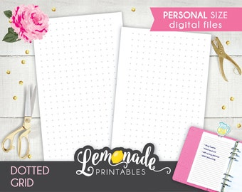 Dotted Planner Insert Printable Personal dotted grid planner Insert Dotted grid insert fits Personal filofax and kikki k medium planners