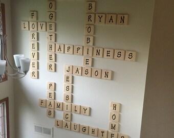 Wood letter tiles