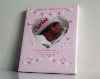 Personalised baby girl bunting picture print birth of baby gift bedroom print newborn photo