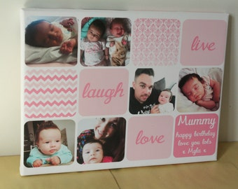 Photo collage personalised gift for girlfriend mothers day newborn baby girl keepsake canvas picture bedroom