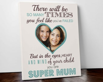 Personalised mothers day gift for mum canvas picture print keepsake nan
