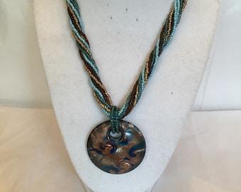 Blue Twist Beaded Pendant Necklace