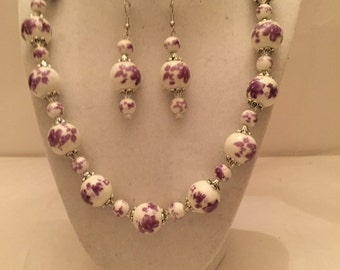 Lovely Lavender Beaded Jewelry Set