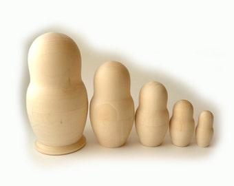 16cm Blank Unpainted Matryoshka Russian Nesting Doll 5-piece
