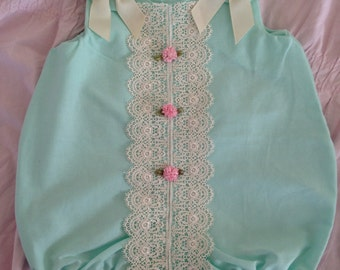 Mint bubble lace romper