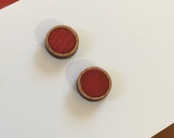 10mm Red/Bamboo Glossy Round Studs