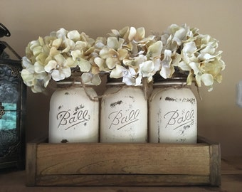 modern mason jar planter box set, flowers included in price!!!!!