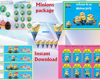 SALE! - Minions package: Minions cupcakes toppers , Minions  door sign, Minions banner, Minions water bottle labels, Minions thank you tags