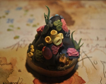 Polymer clay sculpted coral reef