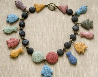 Designer wolcanic lava ooak necklace with multicolor lava pendants