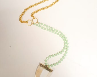 White Dagger and mint necklace