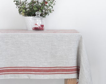 Red Striped Natural Linen Tablecloth