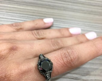 Vintage Style Black Diamond Engagement Ring