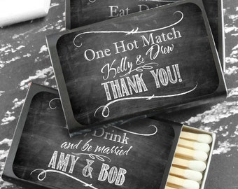 Wedding Favor Matches, Chalkboard Personalized Match Favors, Chalkboard Art, The Perfect Match -  Set of 50, Unassembled (Black Box)
