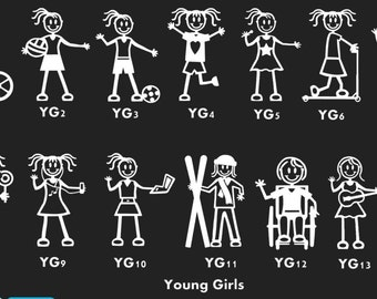 Stick People Family Car Decal Young Girl Characters