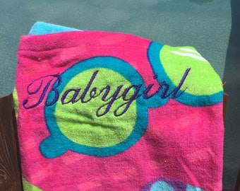 Babygirl embroidered beach towel